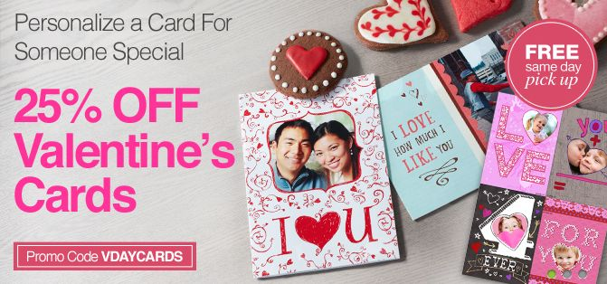 25 Off Customized Valentine S Day Cards At Cvs More Photo Deals Cards Valentine Day Cards Day