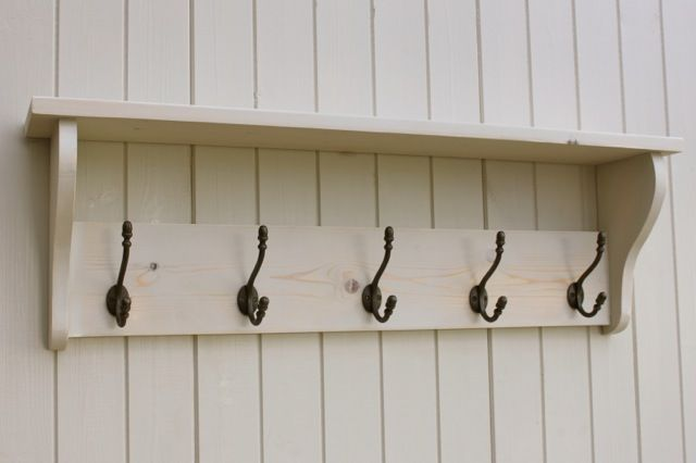 Hat and Coat Rack with shelf - Shabby Chic Distressed White Wash hook