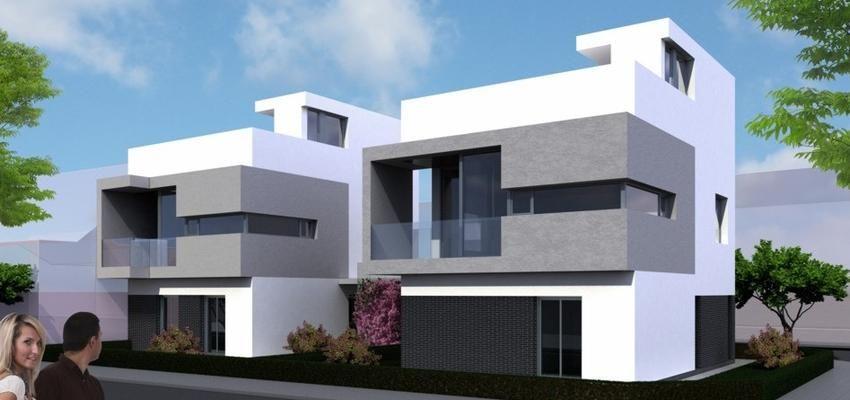 Exterior estilo contemporaneo color blanco gris negro for Fachadas de casas estilo contemporaneo