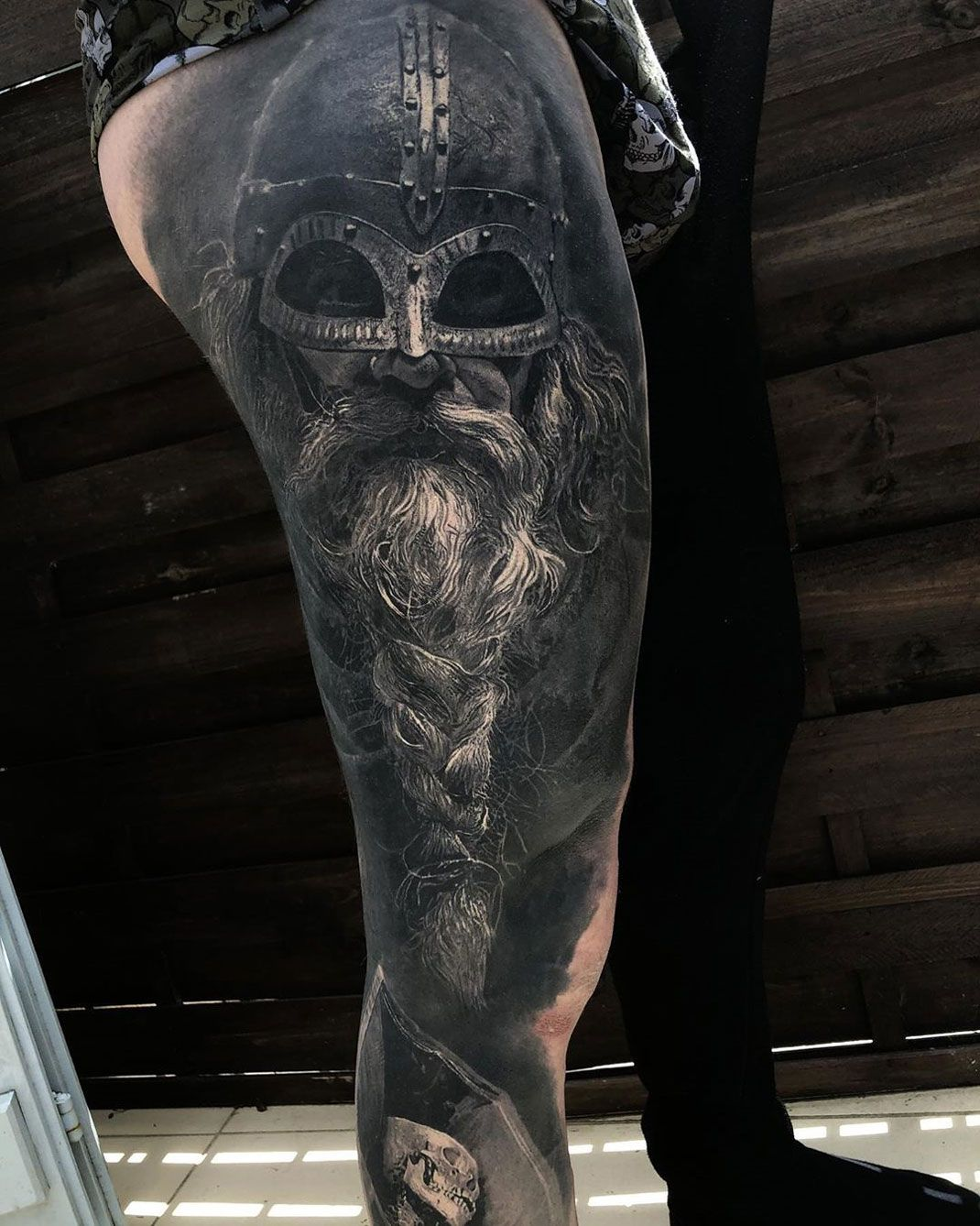 Viking Realism on Guy's Leg Best tattoo design ideas