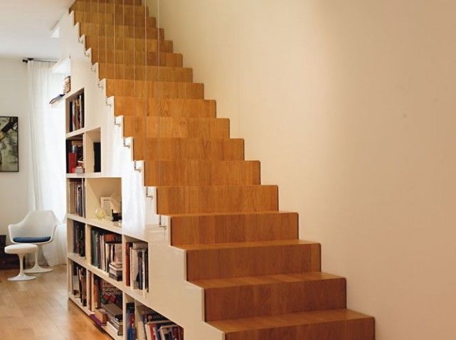 escalier droit en chene avec bibliotheque bureau. Black Bedroom Furniture Sets. Home Design Ideas