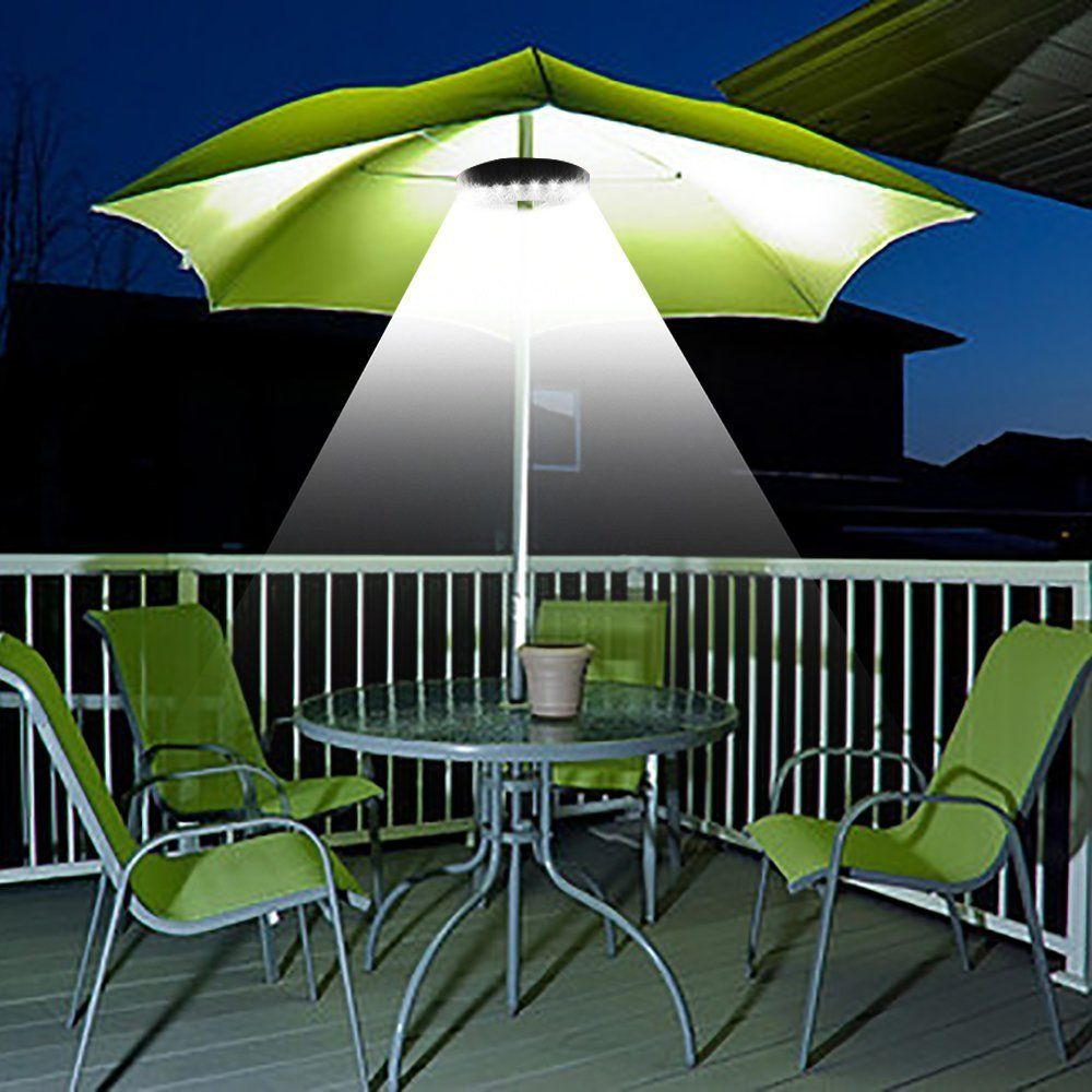 Patio Umbrella Light 3 Brightness Mode Cordless 28 Led Lights At 220 Lux 4 X Aa Battery Operated Umbrella Pole Light For Patio Umbrellas Camping Tents Or Out Patio Umbrella Lights Patio Umbrella Patio Lighting
