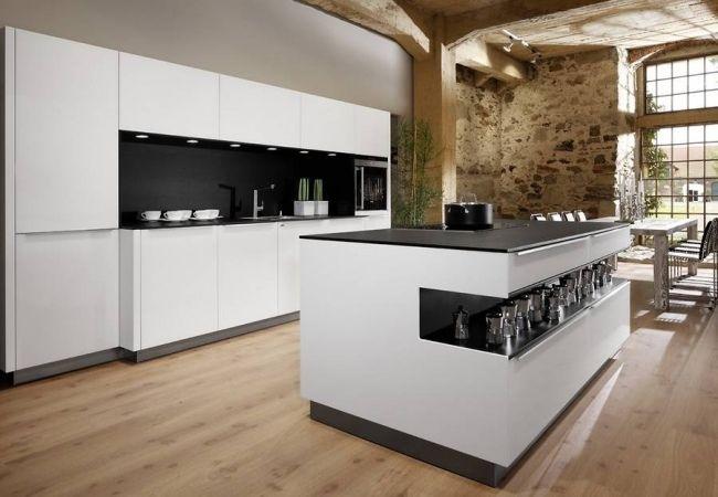 Renommierte Küchenhersteller Europa Allmilmö Schwarz Weiß Insel