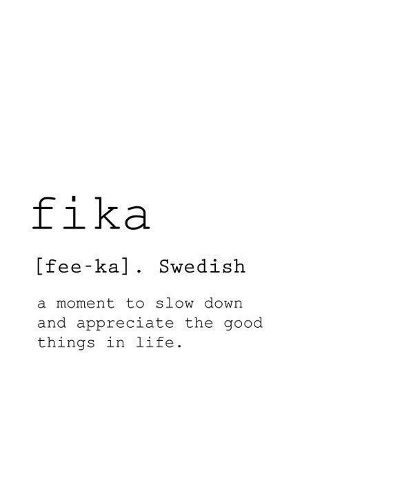 Fika Definition Print, Life Quotes, Fika Poster, Modern Living Room Art