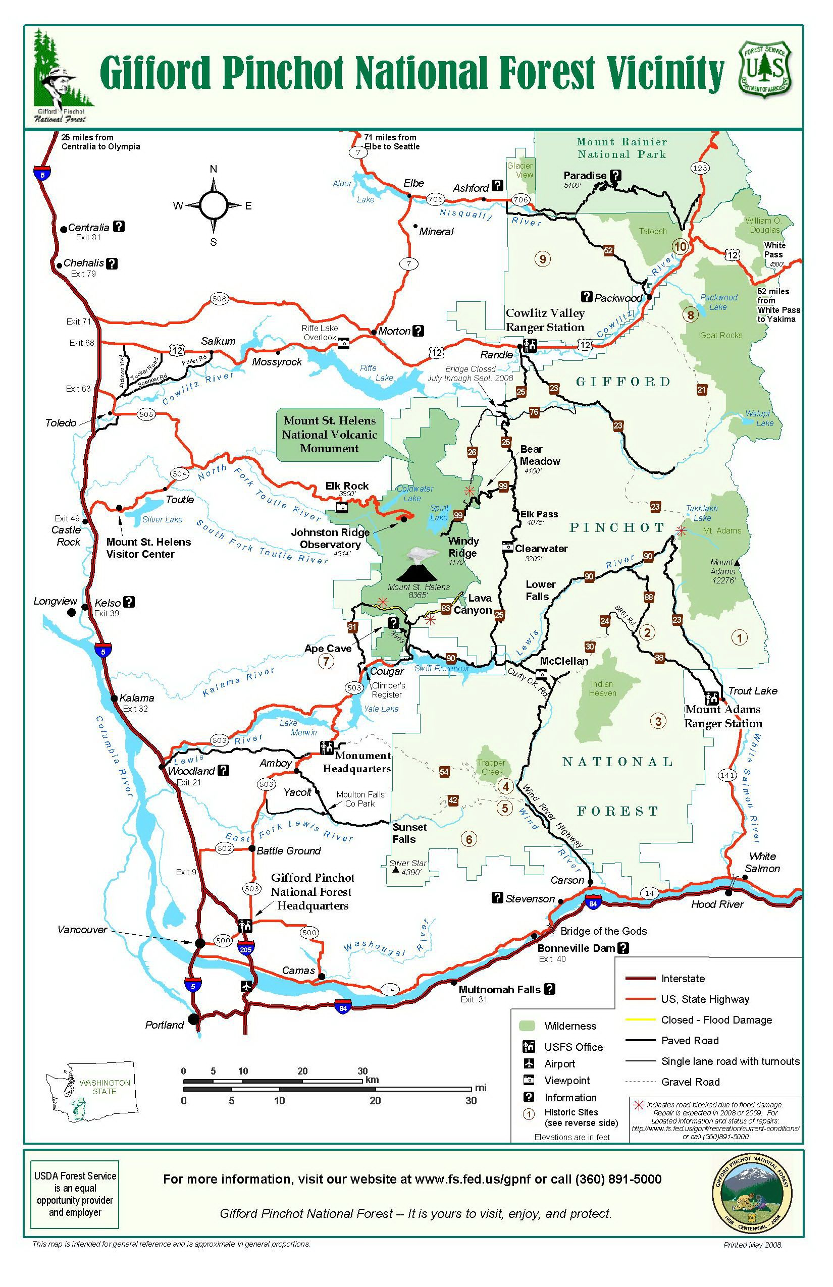 Gifford Pinchot National Forest General Map Vacation Ideas