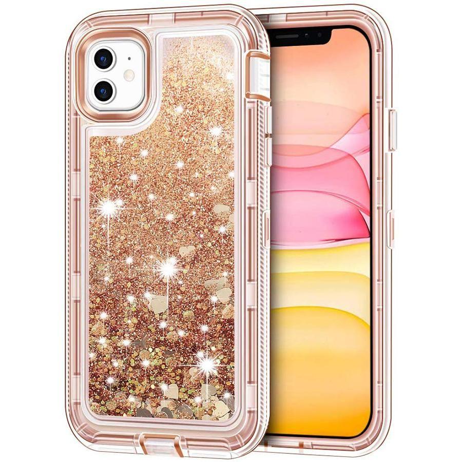 Liquid glitter iphone case x 8 7 6 360 protective plus