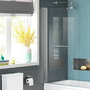 Bath screens 800mm straight bath screen with towel rail 4mm bath screens straight bath screen with towel rail uk cheap tempered safety glass shower reversible aluminium planetlyrics Gallery