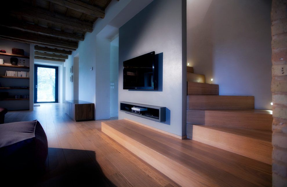 Modern farmhouse living room living room modern with tv stairs tv