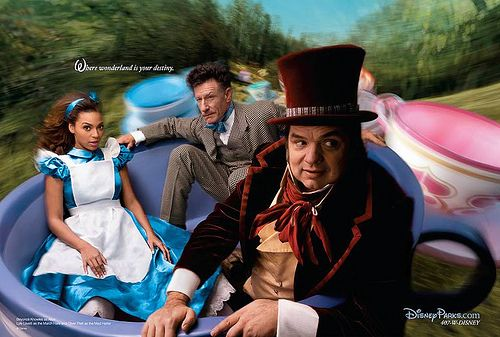Disney Dream Portrait Series by Annie Leibovitz - Beyonce as Alice, Lyle Lovett as the March Hare and Oliver Platt as the Mad Hatter