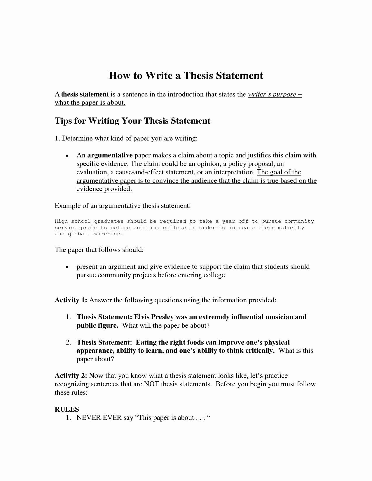 Thesis Statement Practice Worksheet Elegant 39 Examples Of