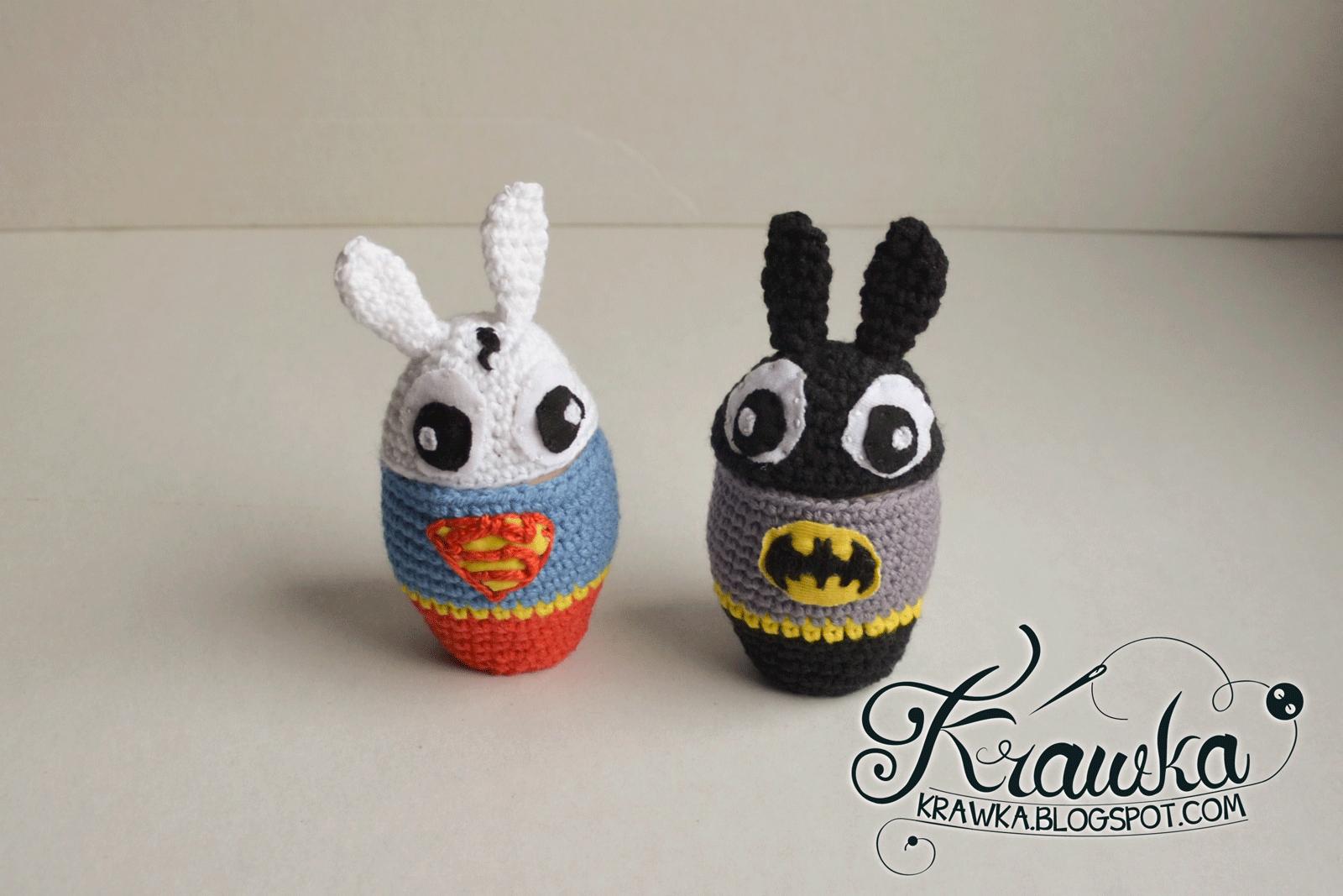 Superabbit(superman) & Rabbitman(Batman) - egg cozies pattern ...