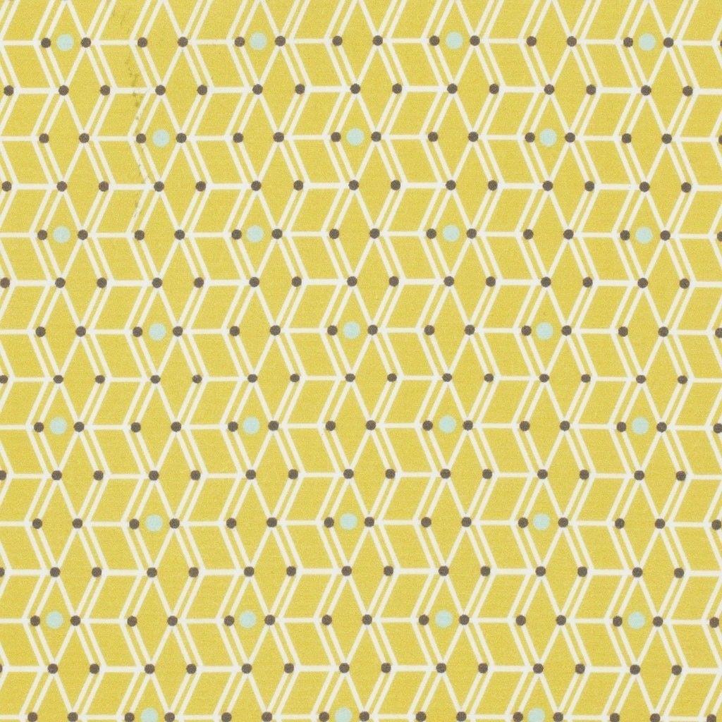 Tissu coton cubik jaune pois verts mondial tissus - Tissu ameublement art deco ...