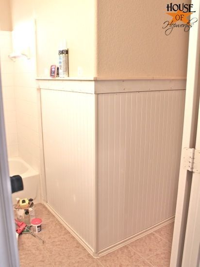Kids' Bathroom Makeover, Phase 1: Hanging Beadboard And