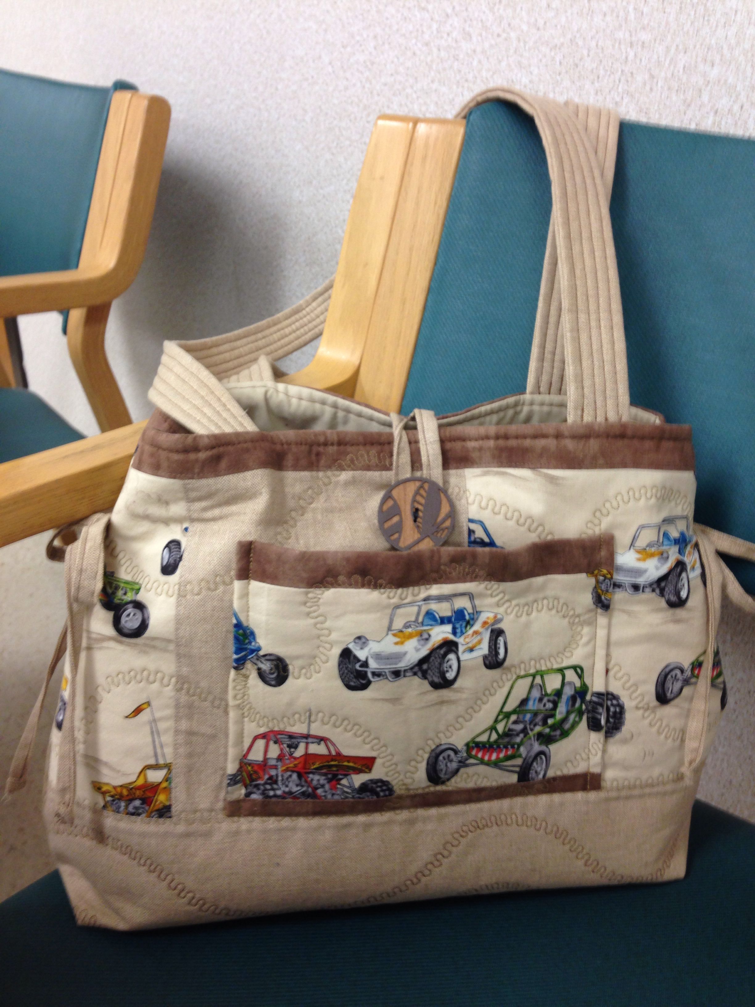Front View Of Race Car Bag Made From Recycled Curtains