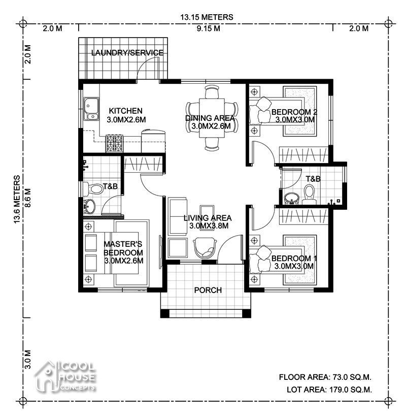 Home Design Plan 13x13m With 3 Bedrooms In 2020 Bungalow Floor Plans Modern Bungalow House Home Design Floor Plans
