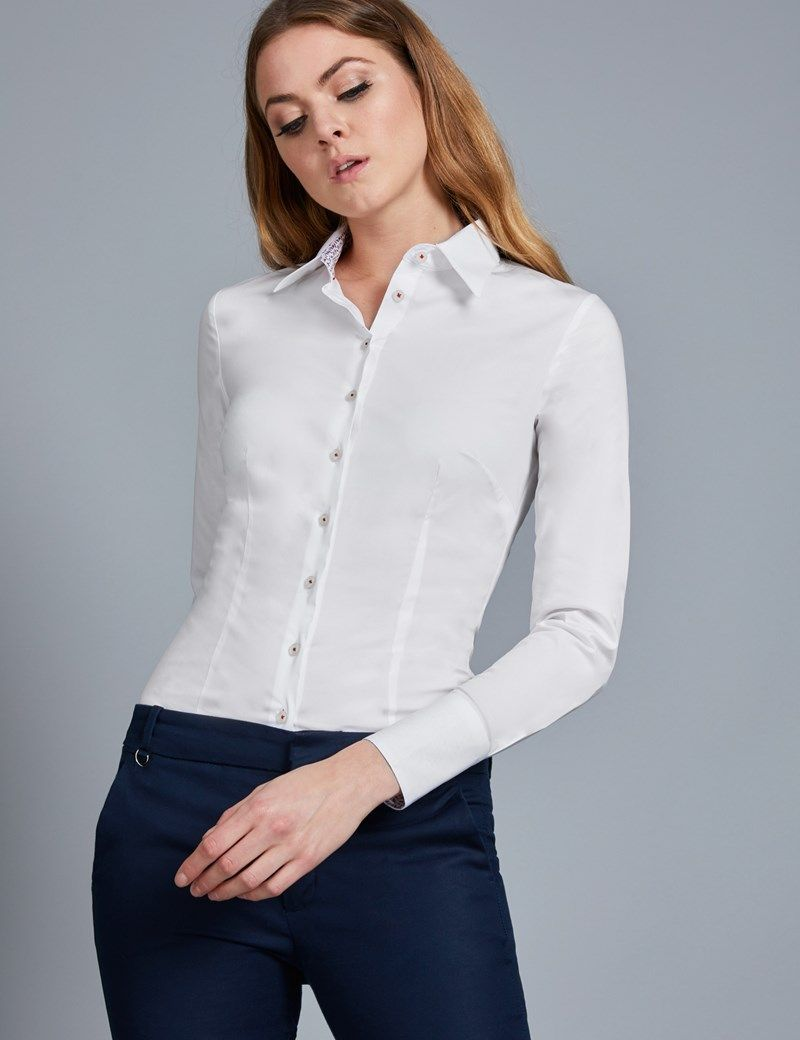9ef9c2915059c Women s White Fitted Stretch Shirt With Contrast Detail - Single Cuff