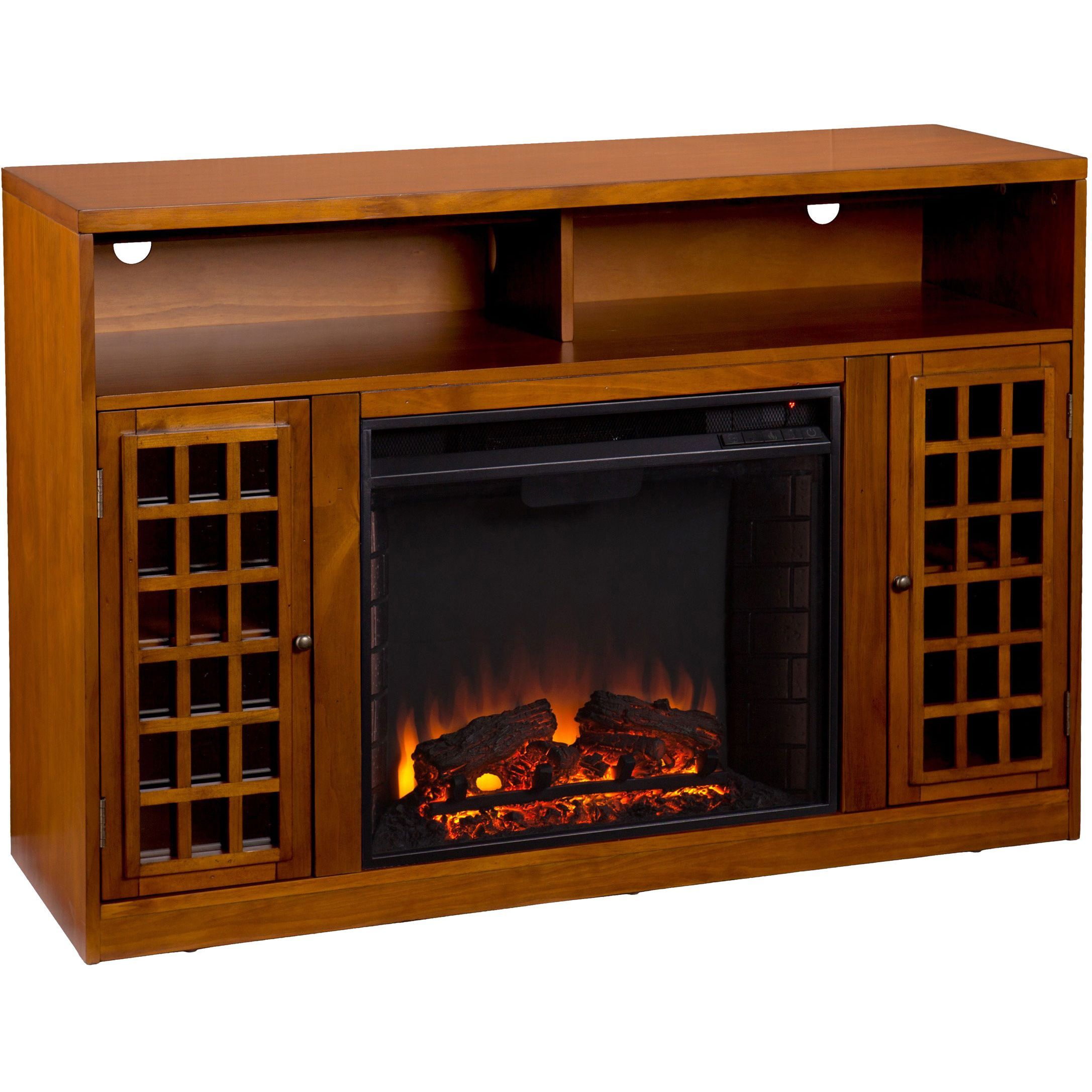 This unusual electric fireplace media console does double duty as a