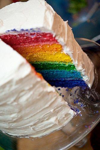 Rainbow cake. So pretty!