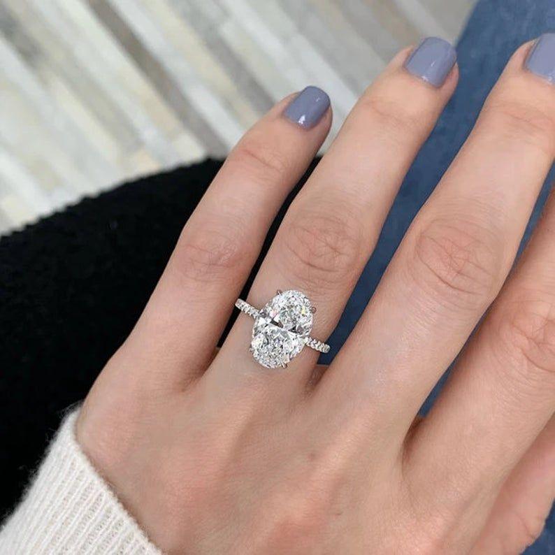 2.50Ct Colorless Moissanite Ring Oval Moissanite Bridal Ring Set Engagement Ring