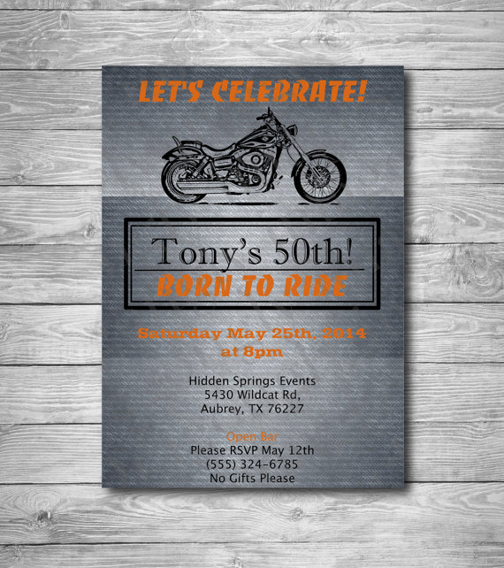 Harley Birthday Invitation 40th 50th 60th Retirement Party Davidson Printable Digital DragonFlyPapier