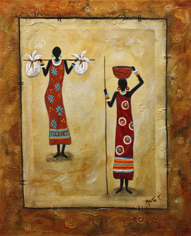 "African Handmade Original Art Folk Painting Latin American "" Enterprising Woman"
