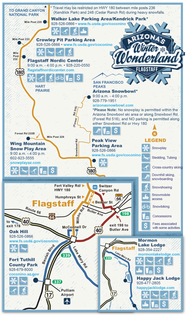Map Of Flagstaff Arizona.Map Of Winter Snowplay Recreation Areas In And Around Flagstaff