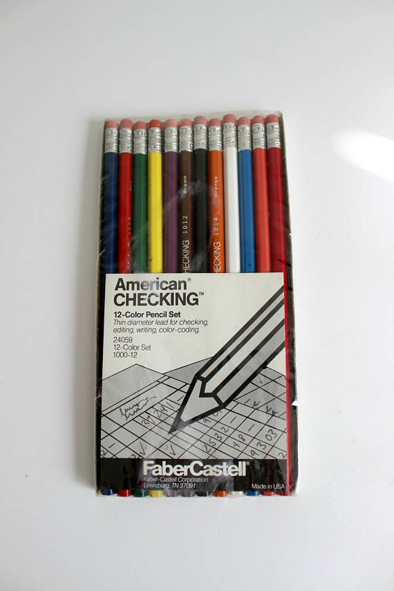 Vintage Faber Castell American Checking 12 Color Pencil Set In Colored Pencil Set Vintage Crafts Colored Pencils