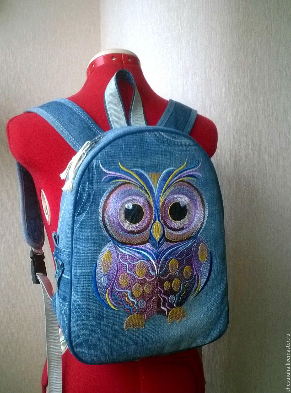 de7132164751 Купить Рюкзак джинсовый Сова - синий, рюкзак, рюкзачок, рюкзак женский,  рюкзак ручной работы