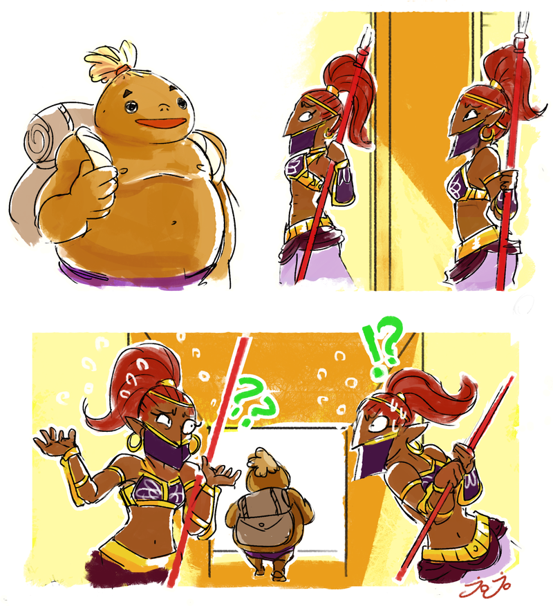 gerudo by jojo56830 exactly why on earth is a goron allowed in