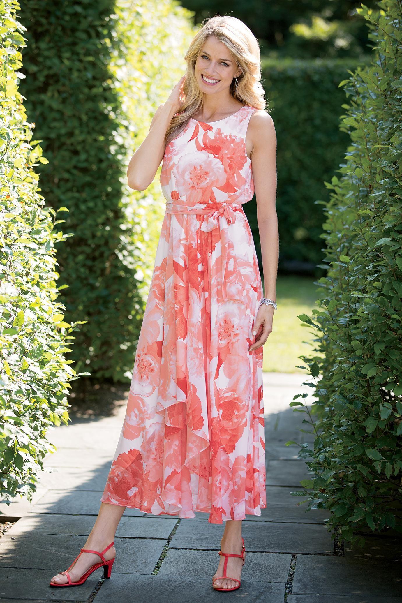 Sleeveless Cascading Chiffon Dress Chadwicks Of Boston