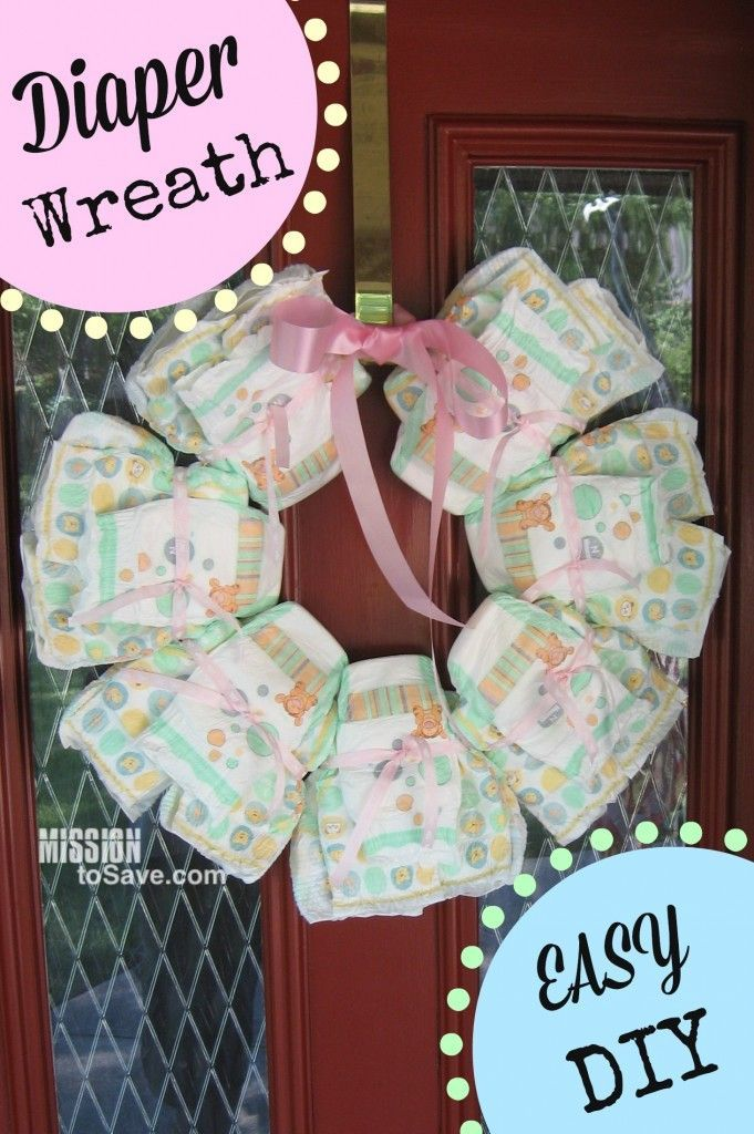 A Diy Diaper Wreath Makes A Perfect Gift Idea To Welcome Baby Home And
