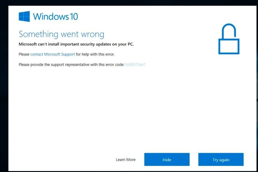 Microsoft cannot install important security updates on your