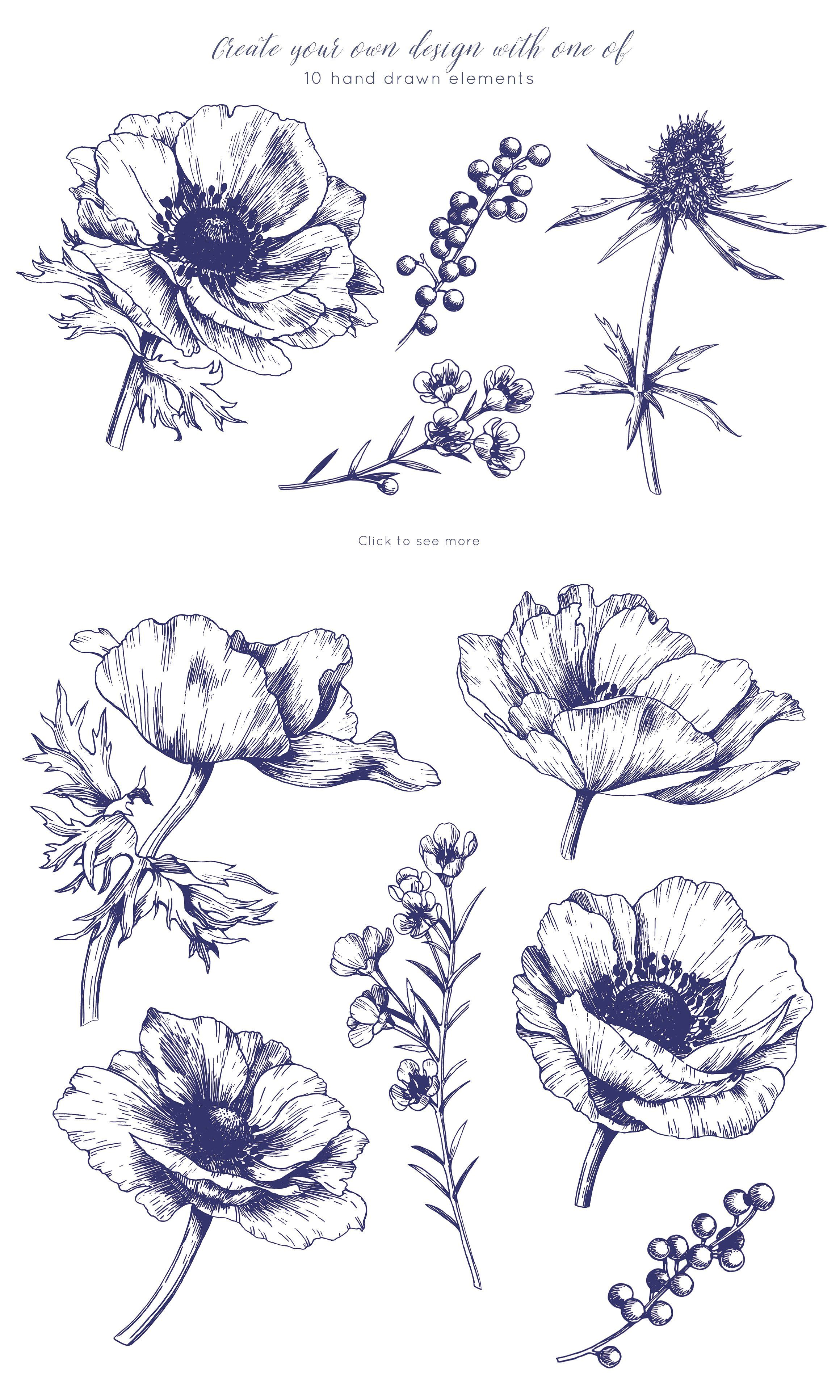 Ink Anemone Flowers Set Anemone Flower Anemone Anemone Boutonniere