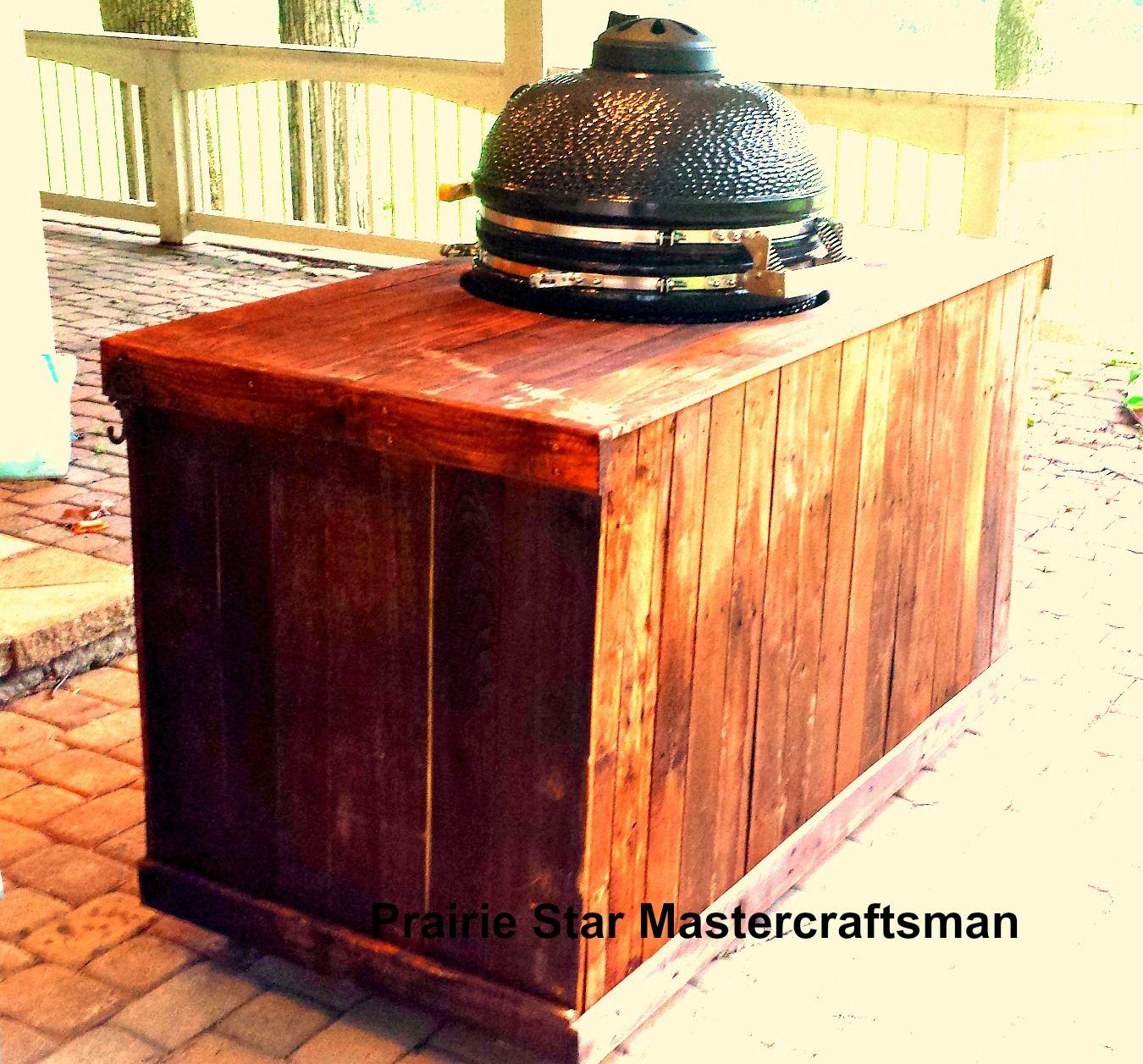 Big green egg table backside upcycle pallet wood