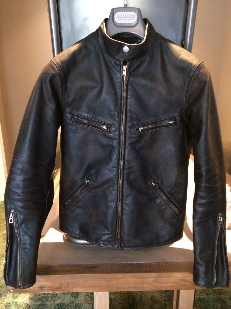 6f81c9f0e RRL Mens Leather Cafe Racer Moto Jacket Vintage Leather Jacket