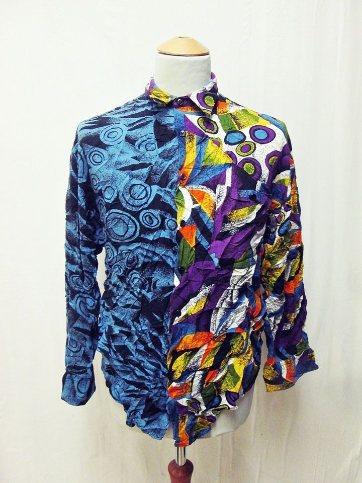 cec919f1 Vintage 1990s Psychedelic Split Personality Geometric Party Pattern Shirt  Large