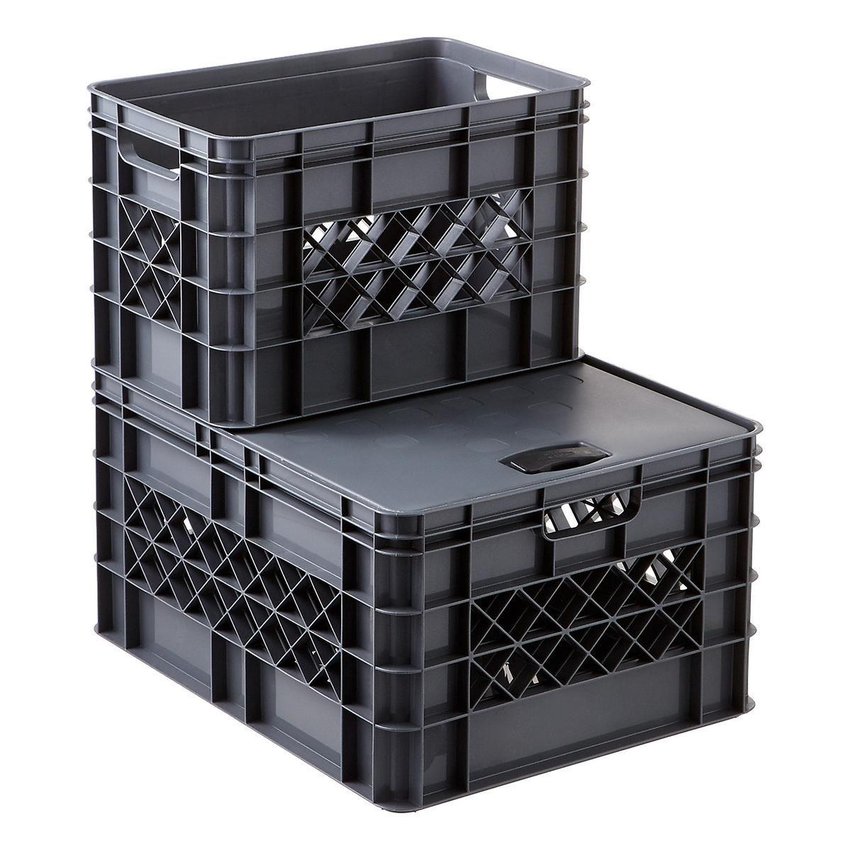 Grey Modular Stackable Crates Milk Crate Storage Crates Stackable Plastic Storage Bins