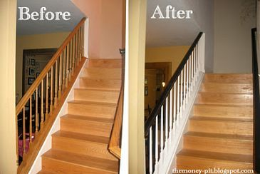 Best Low Cost Stair Railing Makeover Stair Makeover Banister 640 x 480