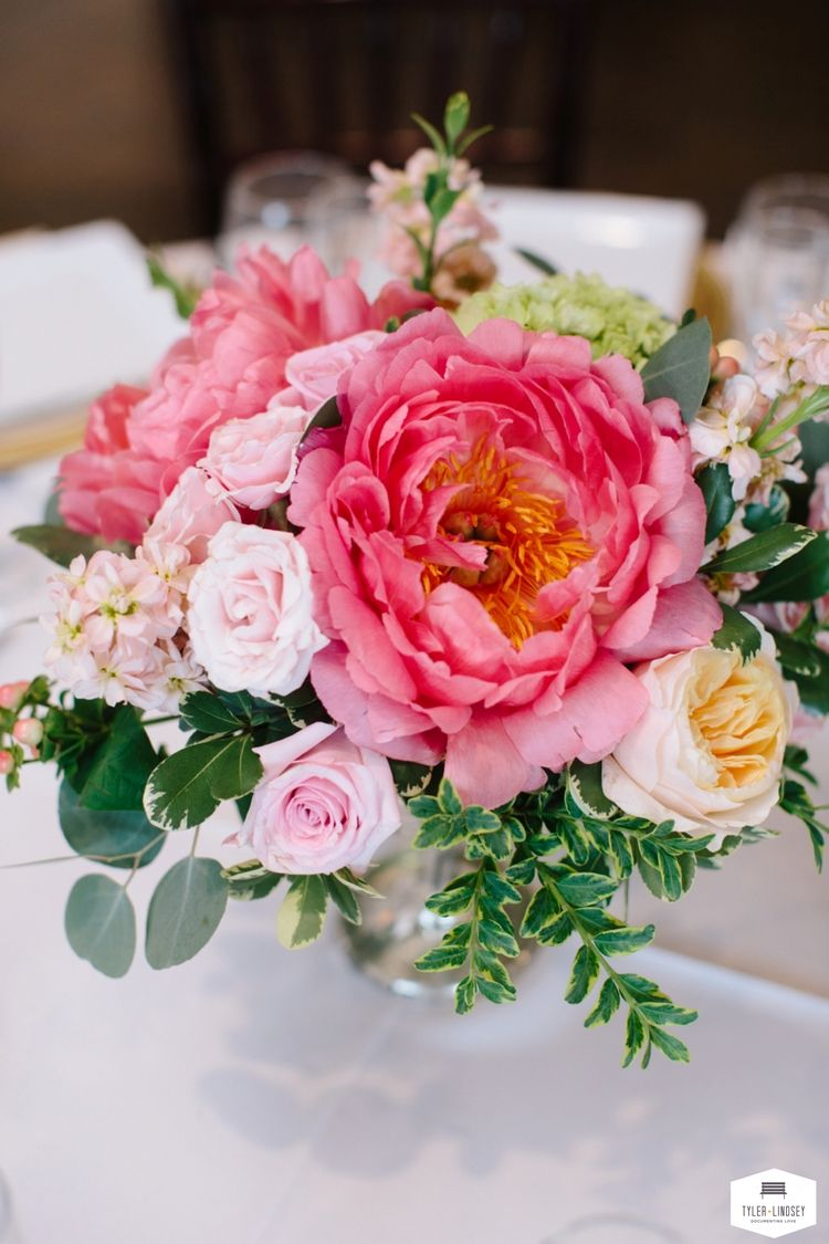Bright summer low centerpiece with coral charm peonies. Blog ...