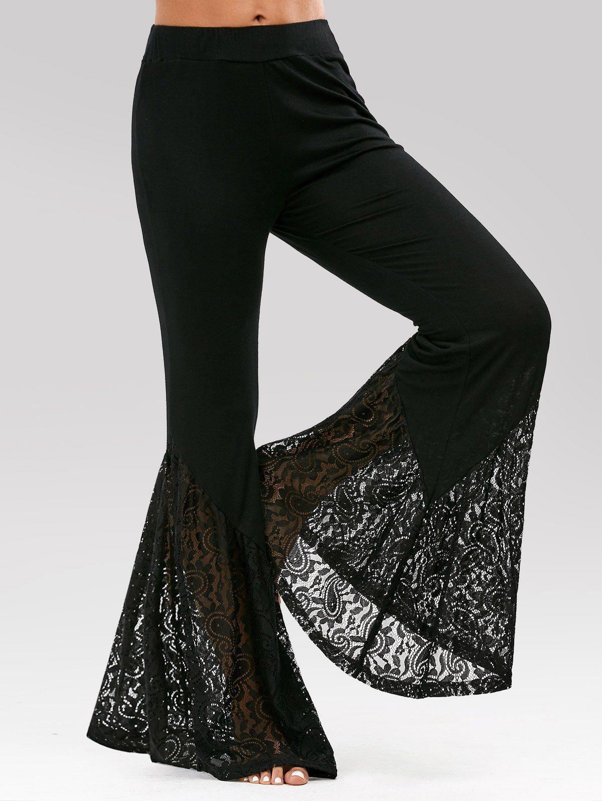 93b1fbea87 High Waisted Lace Insert Bell Bottom Pants - BLACK 2XL | diy ideas ...