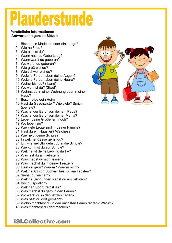 Plauderstunde - Persönliche Informationen | iskola | Pinterest ...