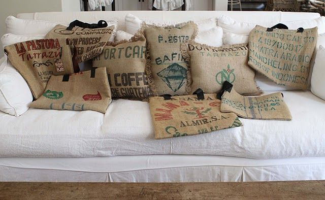 Pillows Made From Coffee Bean Bags For The Home Coffee