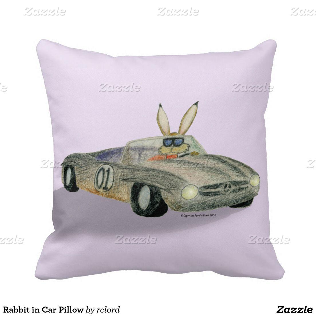 Rabbit In Car Pillow Rabbit Pillow Pillows Decorative Throw