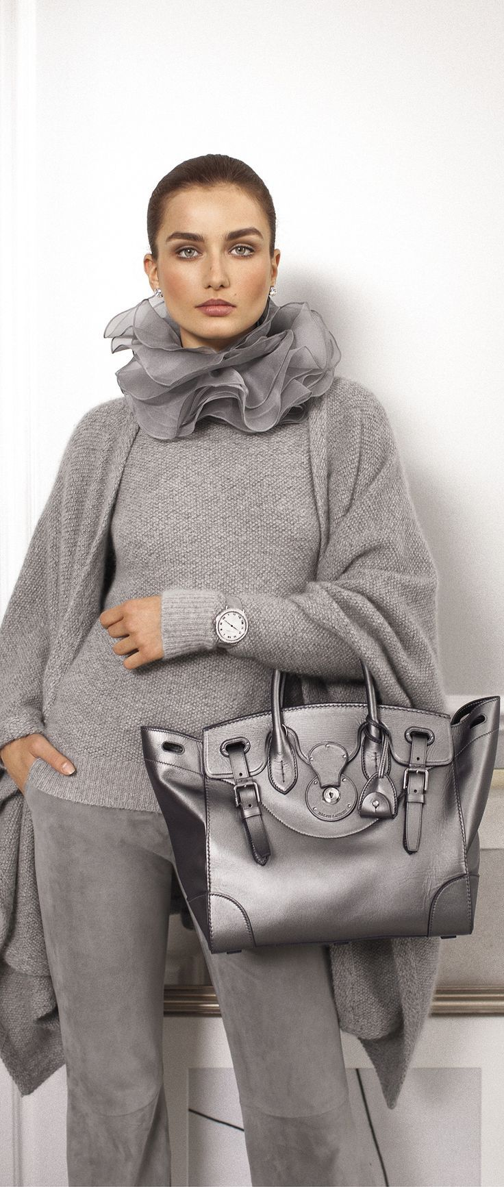 e70ca908e8 The Silver Metallic Ralph Lauren Soft Ricky Bag is exquisitely made in Italy  from layers of hand-stitched