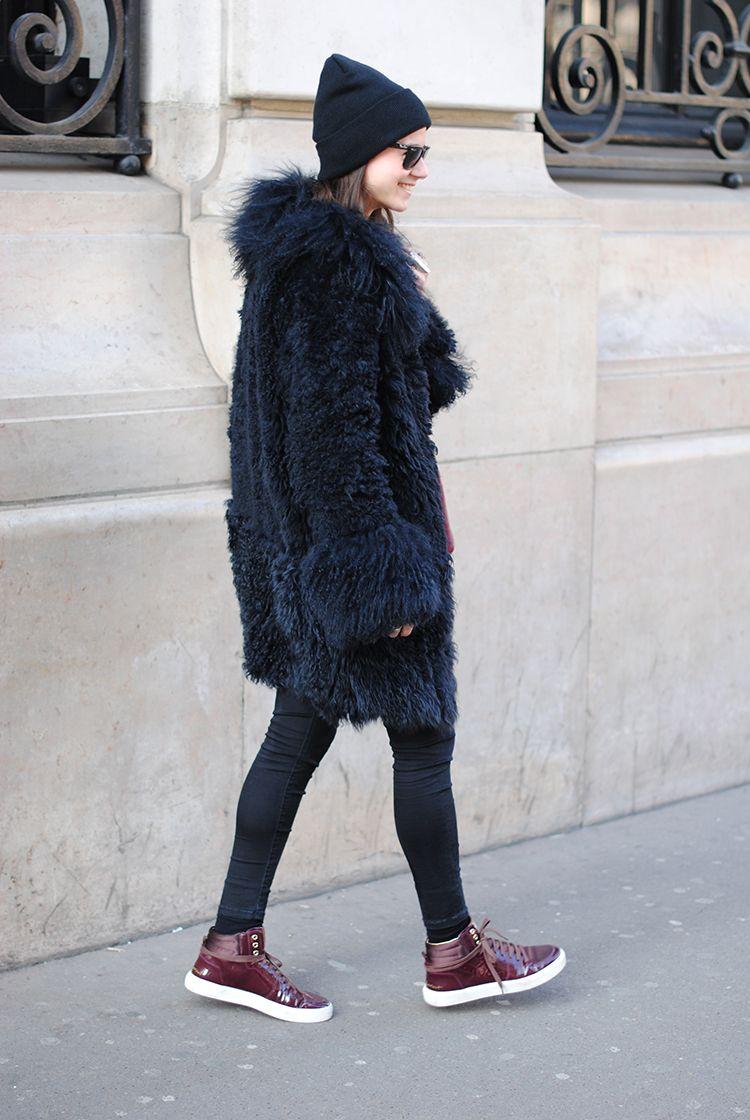 YSL shoes, skinny jeans, hat, American apparel,Paris Fashion Week #streetstyle #PFW