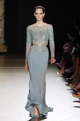 dusty blue gown, Elie Saab