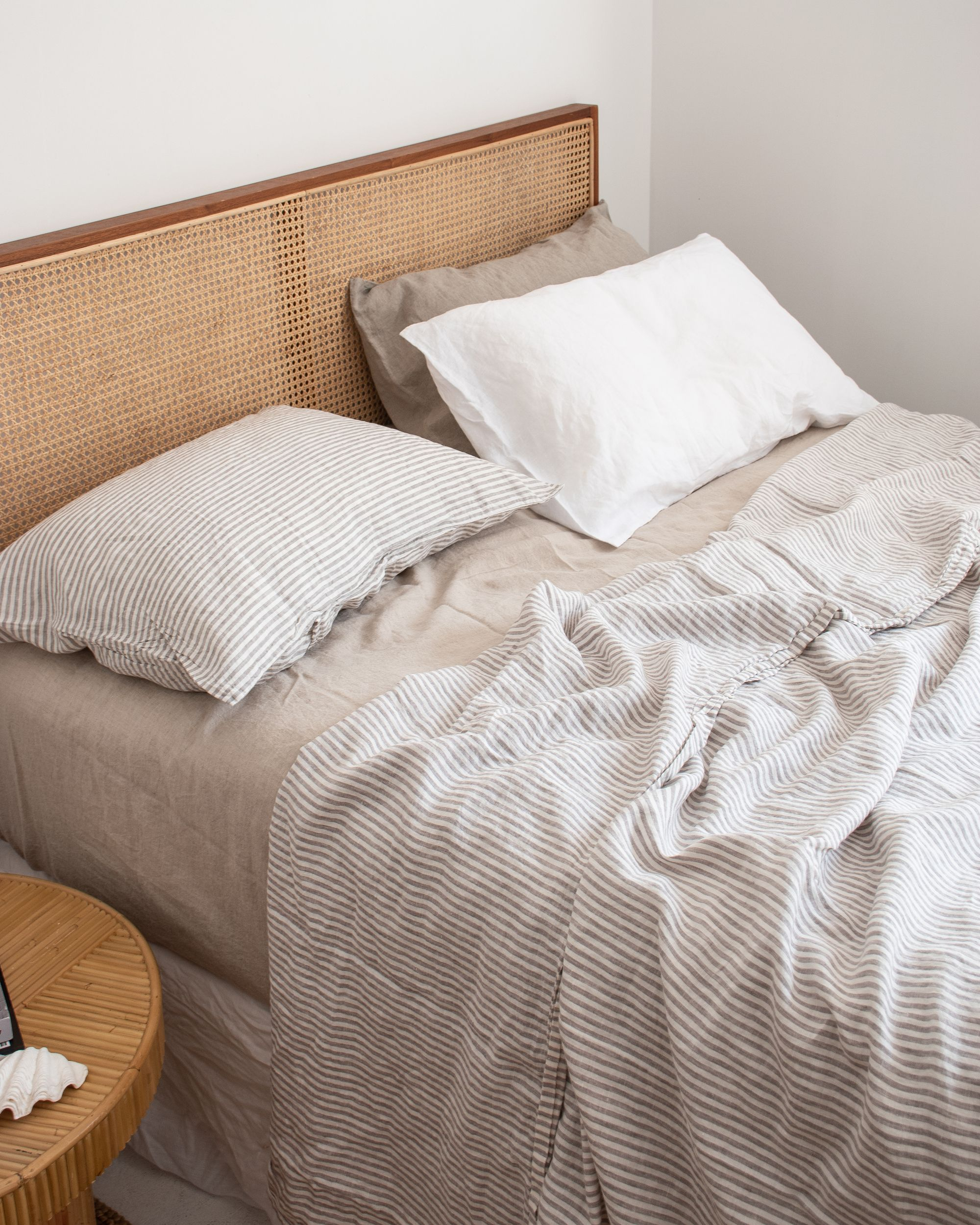 A neutral colour combination of Soft Grey Stripe, Natural