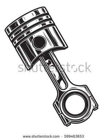 isolated monochrome illustration of engine piston on white