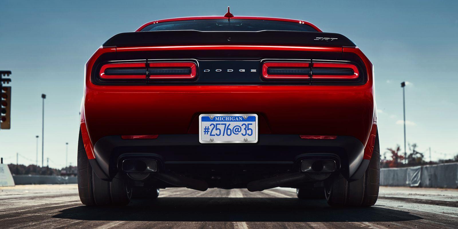 The 2018 Dodge Challenger Srt Demon Wears 315 Width Drag Radials Front And Rear Dodge Challenger Challenger Srt Demon 2018 Dodge Challenger Srt