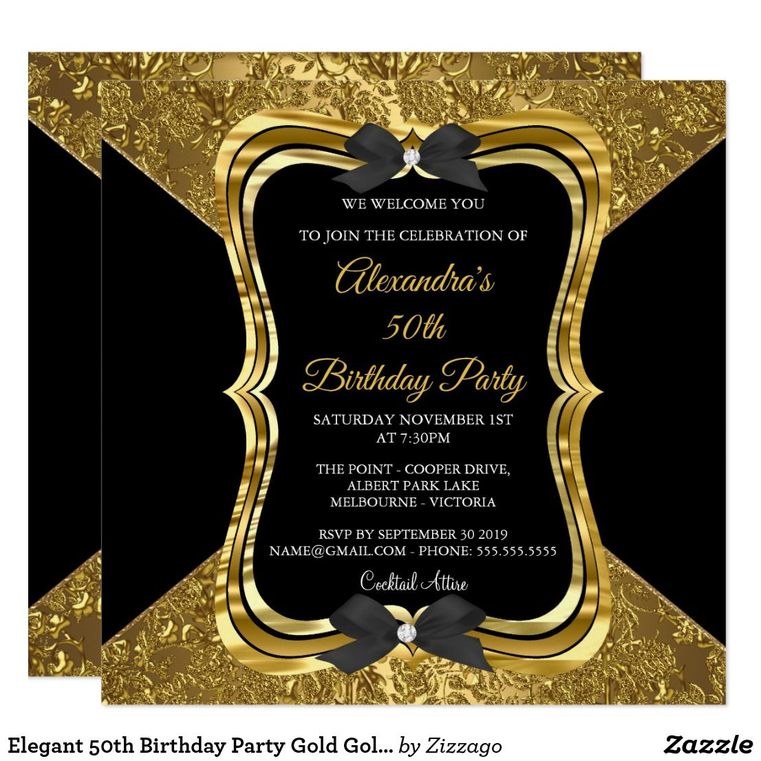 Elegant 50th birthday party gold golden black invitation happy elegant 50th birthday party gold golden black card elegant 50th birthday party gold golden black ornate floral black bows custom invitations filmwisefo